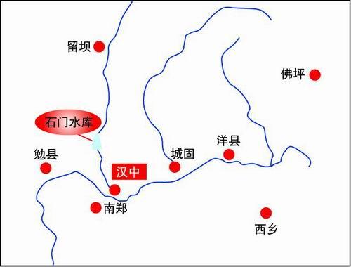 汉中石门水利风景区旅游地图