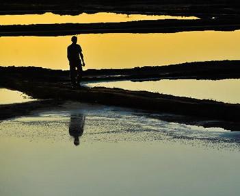 日落盐湖[图]
