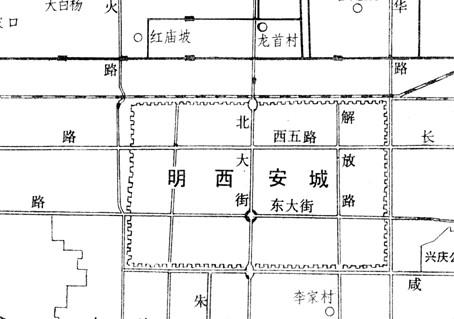 汉唐长安城、明西安城方位图[图]
